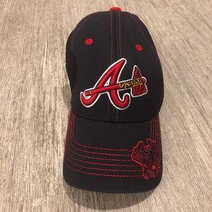 MLB Atlanta Braves baseball cap navy blue and red